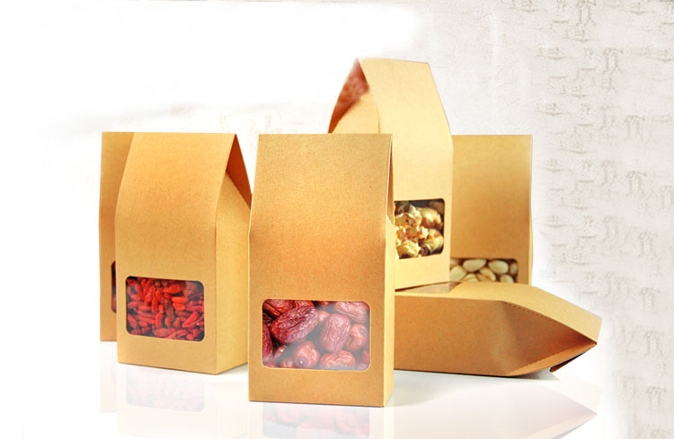 81555cm 10pcs natural resealable brown stand up kraft paper bags boxes recyclable wedding gift jewelry food package paper box - Stand Up Jewelry Box