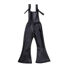 New Fashion Kids Rompers Infant Baby Girl Sleeveless Jumpsuit Kid Leather Boot Cut Long Flare Trousers Fur Playsuit Jumpsuit(China)