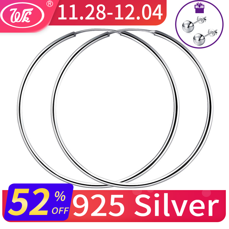 11bb9e7dd WK Women Silver Hoop Earrings Large Big Round Circle 925 Silver Hoops  Creole Jewelry 25MM 40MM 50MM 55MM 60MM Dropshipping 2018 - Brandsfire.com