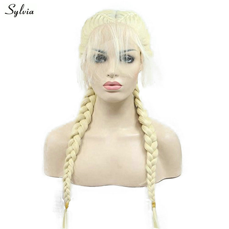 Sylvia Blonde Double Braids Synthetic Lace Front Wigs With Baby Hair 613# High Temperture Long Womens Braided Hair Middle Part