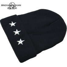 BINGYUANHAOXUANEmbroidery Five-Pointed Star Mens Winter Hat Women Brand Warm Casual Knitted Hip Hop Caps Female Skullies Beanies(China)