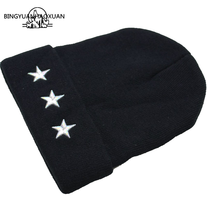 BINGYUANHAOXUANEmbroidery Five-Pointed Star Mens Winter Hat Women Brand Warm Casual Knitted Hip Hop Caps Female Skullies Beanies
