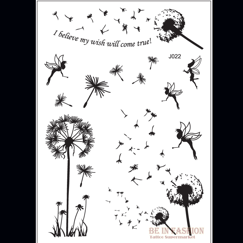 1PC Popular Fashion Flash Temporary Tattoo Fairy Dandelion Design ...