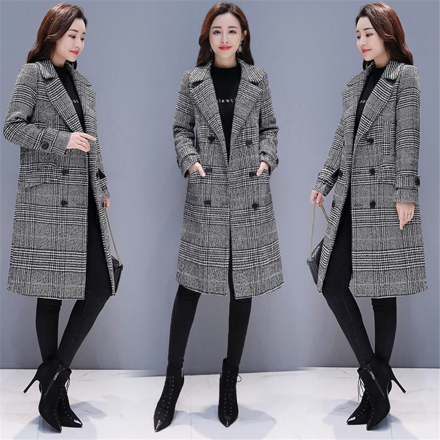 Image 3 - Hodisytian Winter Women Wool Blends Plaid Trench Coat Elegant  Outerwear Casual Loose Thick Cardigan Female Cashmere OvercoatWool