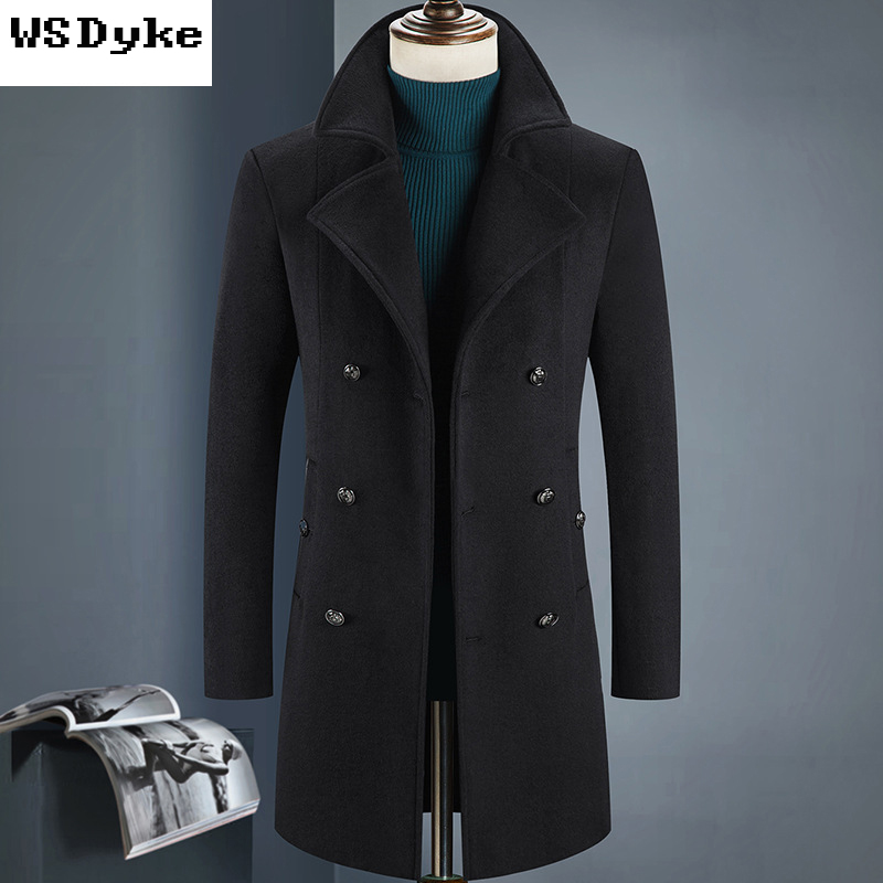2017 New Long Thicken Warm Mens Double Breasted Pea Coat High Quality Black Dark Blue Colors Mens Winter Pea Coat