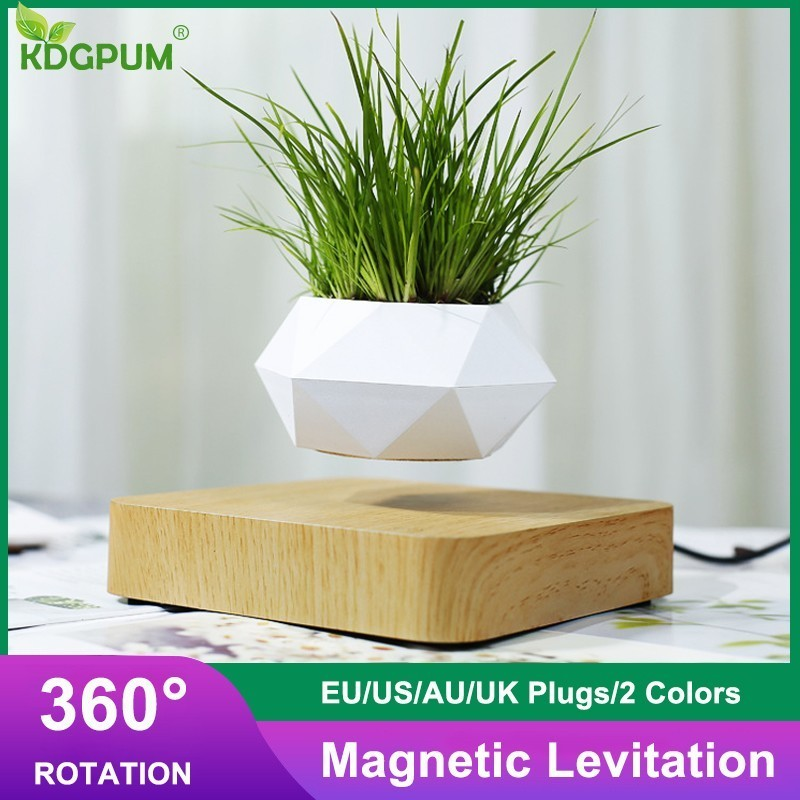 EU/US/AU/UK Plug Levitating Bonsai <font><b>Pot</b></font> Creative Geometry Planter <font><b>Magnetic</b></font> Levitation Flowerpot Succulent <font><b>Pot</b></font> Potted Plant image