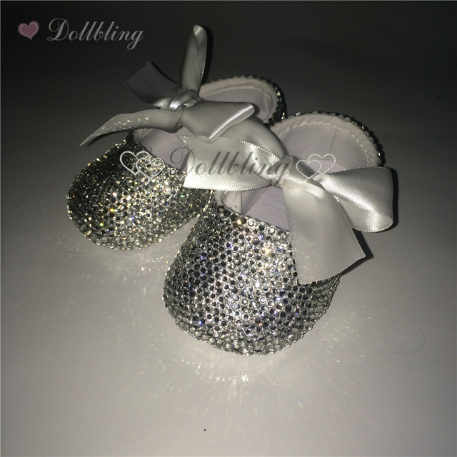 Christening Desgin White Bling Clear Crystal all Dazzling Baby Shoes Sparkle Adorable Fancy Boutique Infant Shoes Keepsake