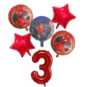 Image 3 - 6pcs/set Spiderman Foil Balloons Avengers Number Balloon Birthday Party Decorations Super hero Boy Kids Toys baby shower Globos