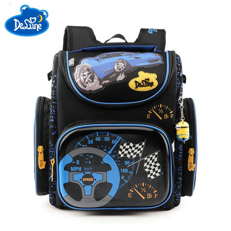 High quality Delune children 3D cartoon Cars school bags for boys student kids schoolbag orthopedic satchel school backpack bags цена