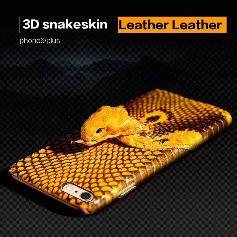 Wangcangli brand phone case snake head back cover leather phone case for iphone X phone case all handmade custom processing