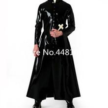Latex Wind Coat Latex ยาว Latex ยางผู้ชายชุด plus ขนาด Priest คอสเพลย์ฮาโลวีนเครื่องแต่งกาย