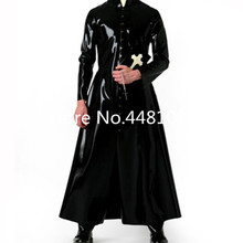 Latex Wind Coat Latex Long Jacket Latex Rubber Mens Suit plus size Priest halloween cosplay costume