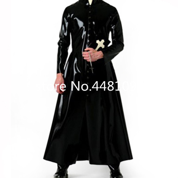 Latex Wind Coat Latex Long Jacket Latex Rubber Mens Suit plus size Priest halloween cosplay costume
