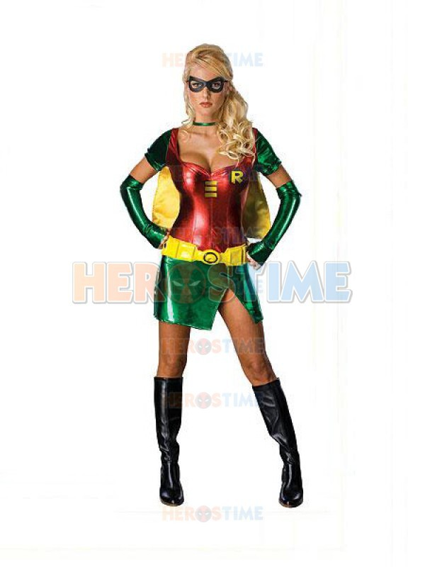 Classic Robin Carrie  Shiny Metallic Superhero Dress red and green Robin Costume party costume