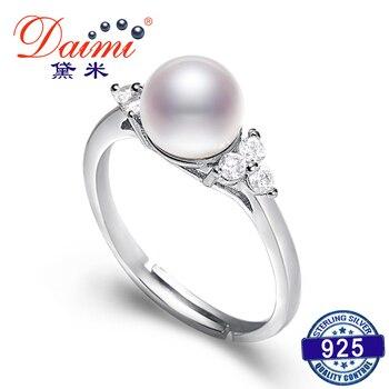 e499cbf2ab6d DAIMI 7-8 MM blanco agua dulce perla anillo cristal brillante anillo de  plata regalo para mujeres anillo de perlas naturales marca joyería