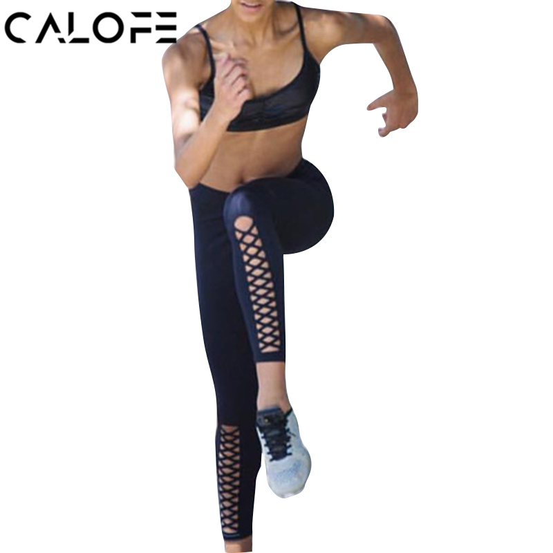 CALOFE Sexy Sport Yoga Pants Front Cross Hollow Out Pencil Sporting Pants Elastic Quick Dry Fitness Workout Tights Leggings