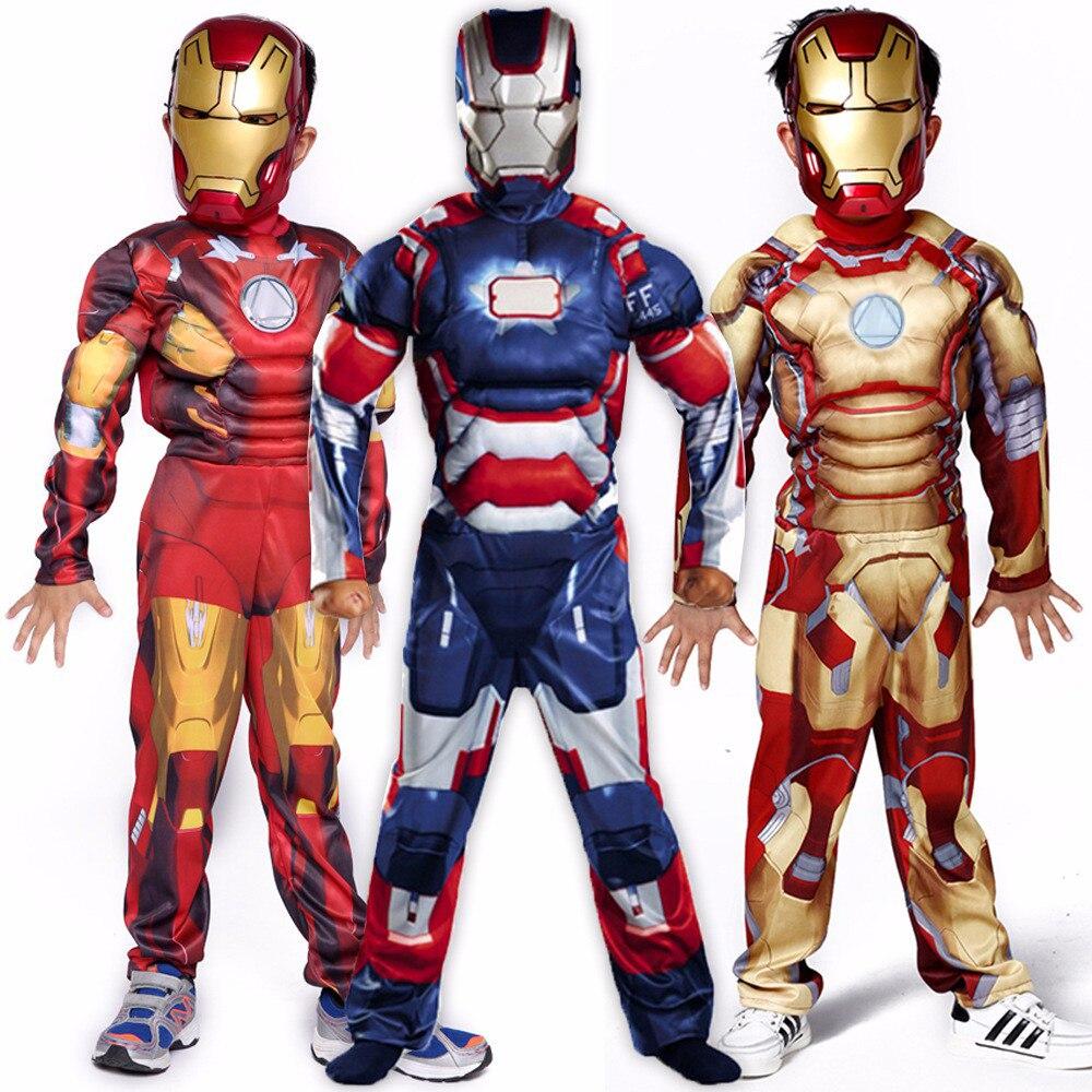 boys child avengers iron man god color mask costume child halloween