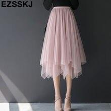 b3186aa3bbc 2019 сезон  весна-лето нерегулярные три-многослойная Тюлевая юбка Для женщин  плиссированная юбка-пачка А-силуэта в сетку женская.