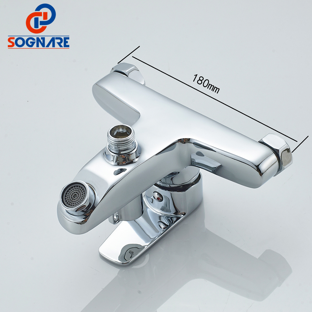 SOGNARE New Wall Mounted Bathroom Bath Shower Faucet with Handheld ...