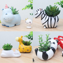 Cute Flowerpots Planters Succulent Pot Panda Animals Resin P