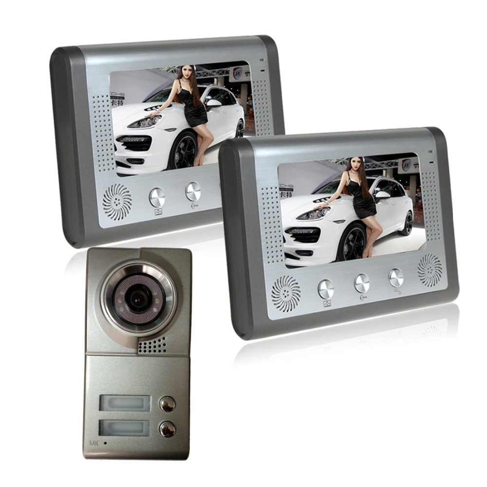 A staircase two units wired video intercom doorbell