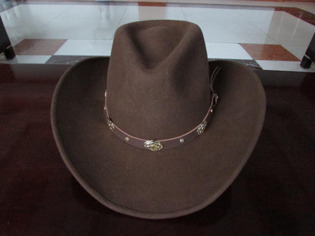 Image 3 - New 100% Woolen Cap Mens Waterproof Wrinkle free Equestrian Hat Adult Wide Brim Cowboy Hat Large brimmed Gentleman Cap B 8133Mens Fedoras   -