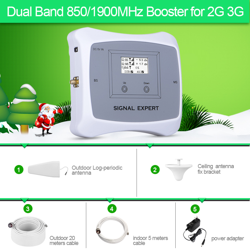 Top Quaity! 2G 3G Dual Band 850&1900MHz Mobile Signal Booster Cell Phone Signal Repeater Signal Ampliffier Kit For Home Use