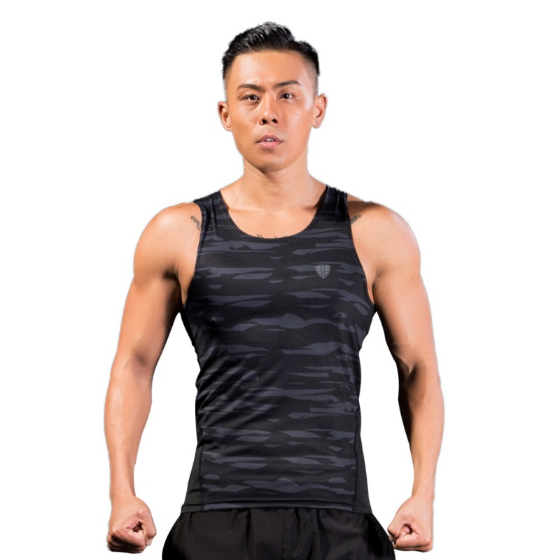 Mens Camouflage Tank Tops Quick Dry Fitness Athletic Running Compression Sports Running vests Mens Vest Gym Fitness T-shirt