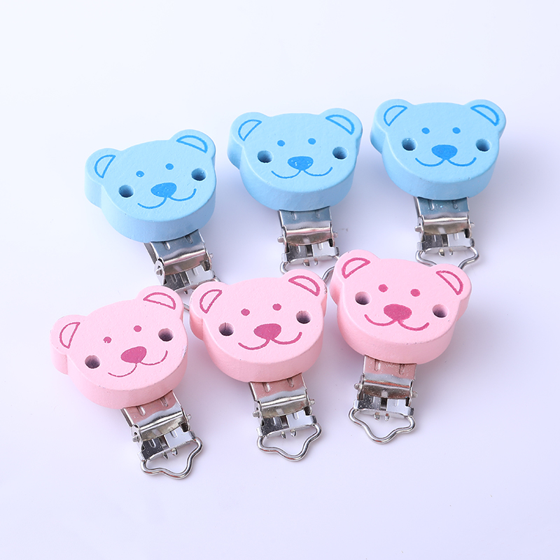 2PCs Pink Blue Baby Pacifier Clips Round Coffee Bear Pattern Wood Metal Holders Cute Jewelry Accessories  Clothing Clip