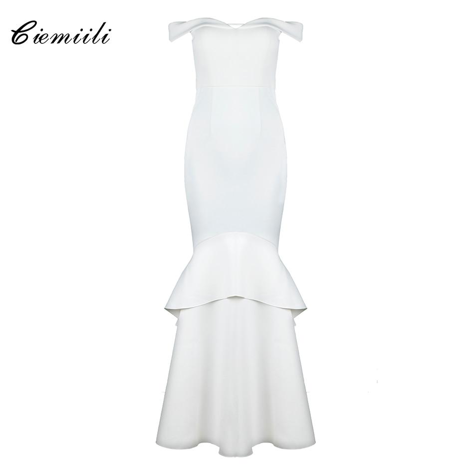 CIEMIILI Off Shoulder Floor Length Cascading Ruffle Elegant Strapless 2018 Cocktail Celebrity Party Noble Long Dress Vestidos