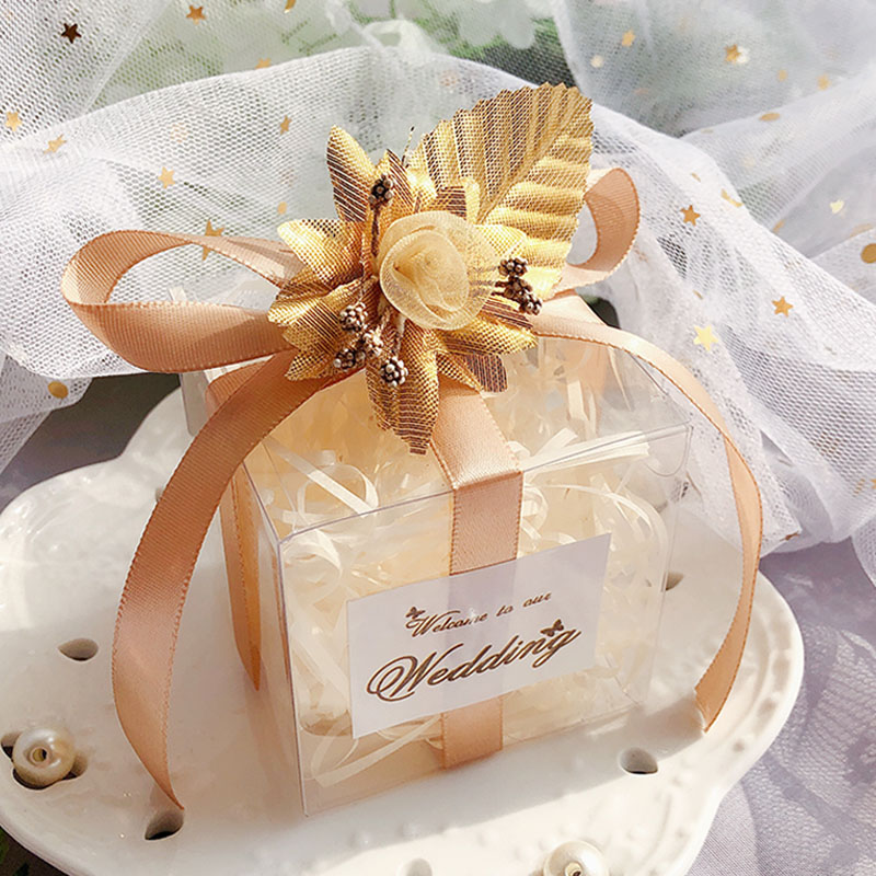 50Pcs/lot Wedding Gift Box Champagne Gold Candy Box Plastic Bag Baby Shower Chocolate Favor Boxes Packaging Box Party Supplies