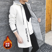 2017 Long New Trend Of Youth Style Small Fresh Trench Plus Velvet Thick Autumn And Winter Hooded Coat Men's Warm Coat Tide