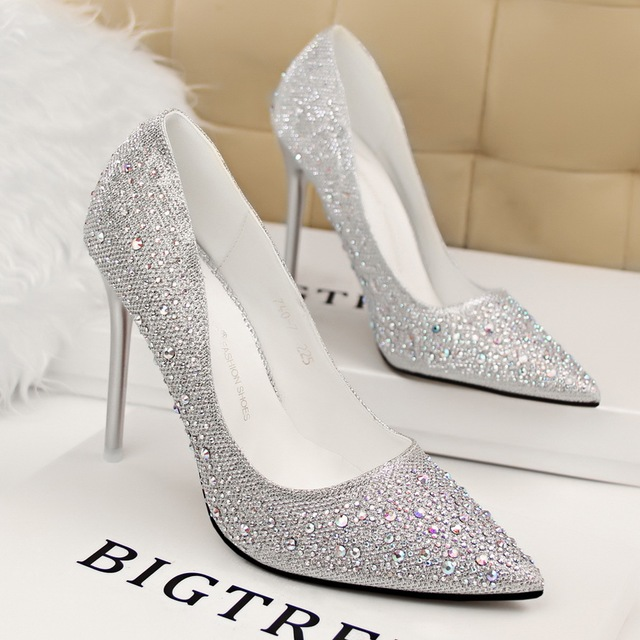 Ladies sparkly diamond pointed toe wedding shoes woman rhinestone ladies sparkly diamond pointed toe wedding shoes woman rhinestone stilettos sexy silver gold blue party bridal junglespirit Choice Image