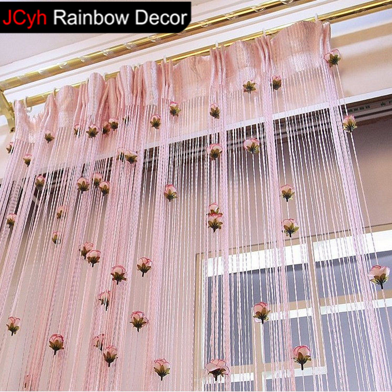 JRD 100x200cm 8 Colors String Curtain Rose Flower Decor Tassels Fly Insect Room Screen Divider Window Panel Room Blinds Curtains