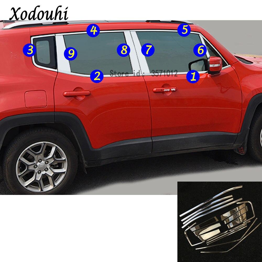 Высокое качество для Jeep Renegade 2016 2017 2018 кузова нержавеющая сталь, стекло гарнир столб средней колонке отделкой вытяжки