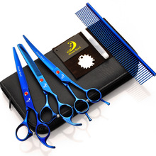 7 inch Professional Pet Dog Grooming Scissors Straight & Curved Shear thinning scissors with comb 4pcs/set
