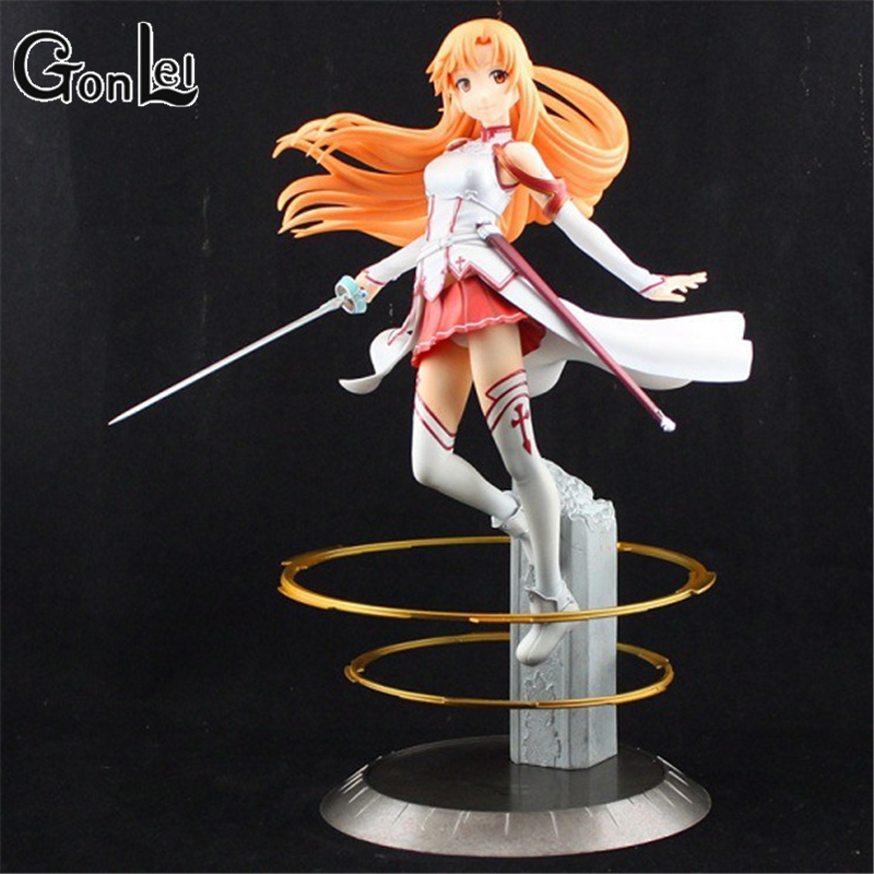GonLeI Free Shipping Japanese Anime Sword Art Online Asuna PVC Action Figure Toy 22cm Cute Aincrad Figure