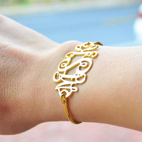 Personalized Monogram Bangle Bracelet Engrave 3 Initial Big Statement Jewelry Christmas Gift