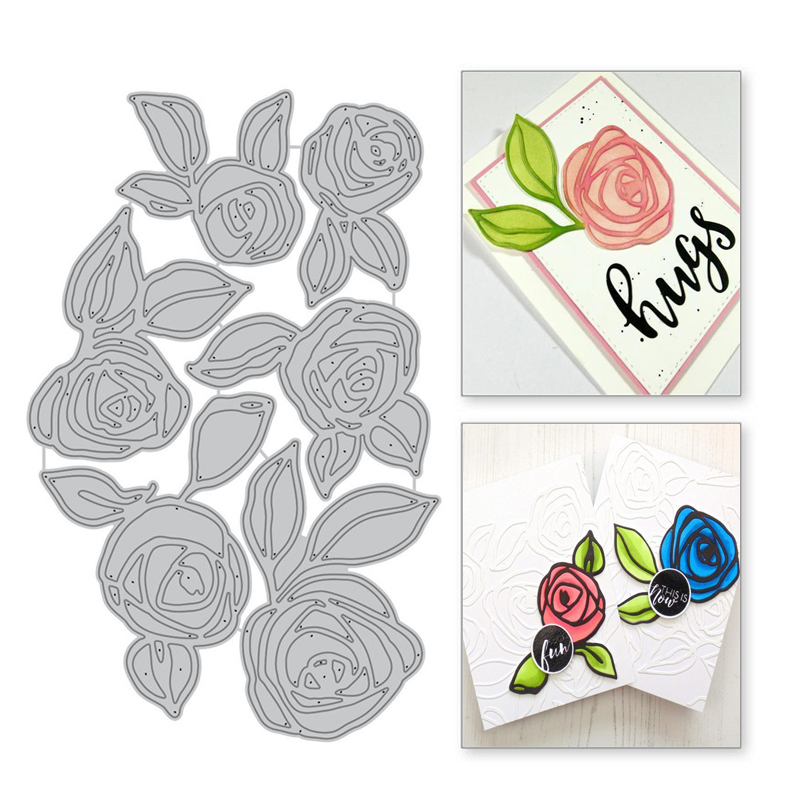 YaMinSanNiO Rose Flor Folha De Corte De Metal Morre Cortes de Morrer Para A Tomada de Cartão de Scrapbooking Album Decorativa Stencils Ofício Embossing