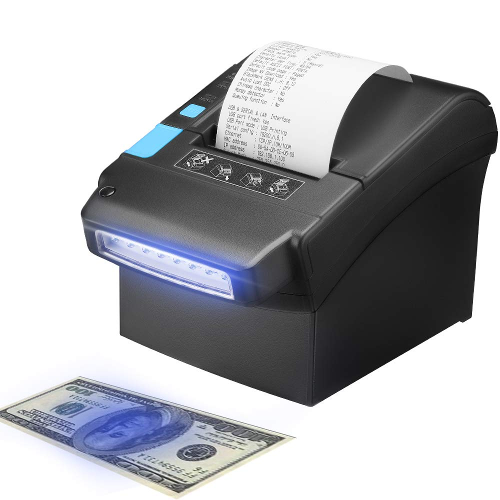 IssyzonePOS Thermal Receipt Printer 80 Mmwith US Dollar Currency Money Detector POS Printer With USB LAN Serial Port 300mm/sec