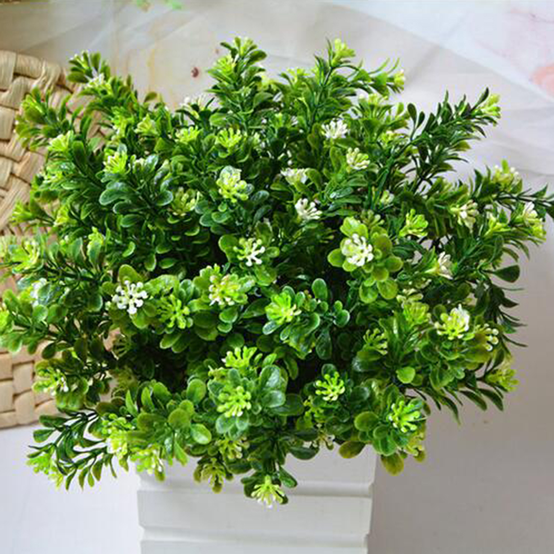 New Style 7 Branch/Bouquet 35 Heads Artificial Green Plant Fake Milan Grass Bonsai Decoration Leaf Corner Lawn Decoration