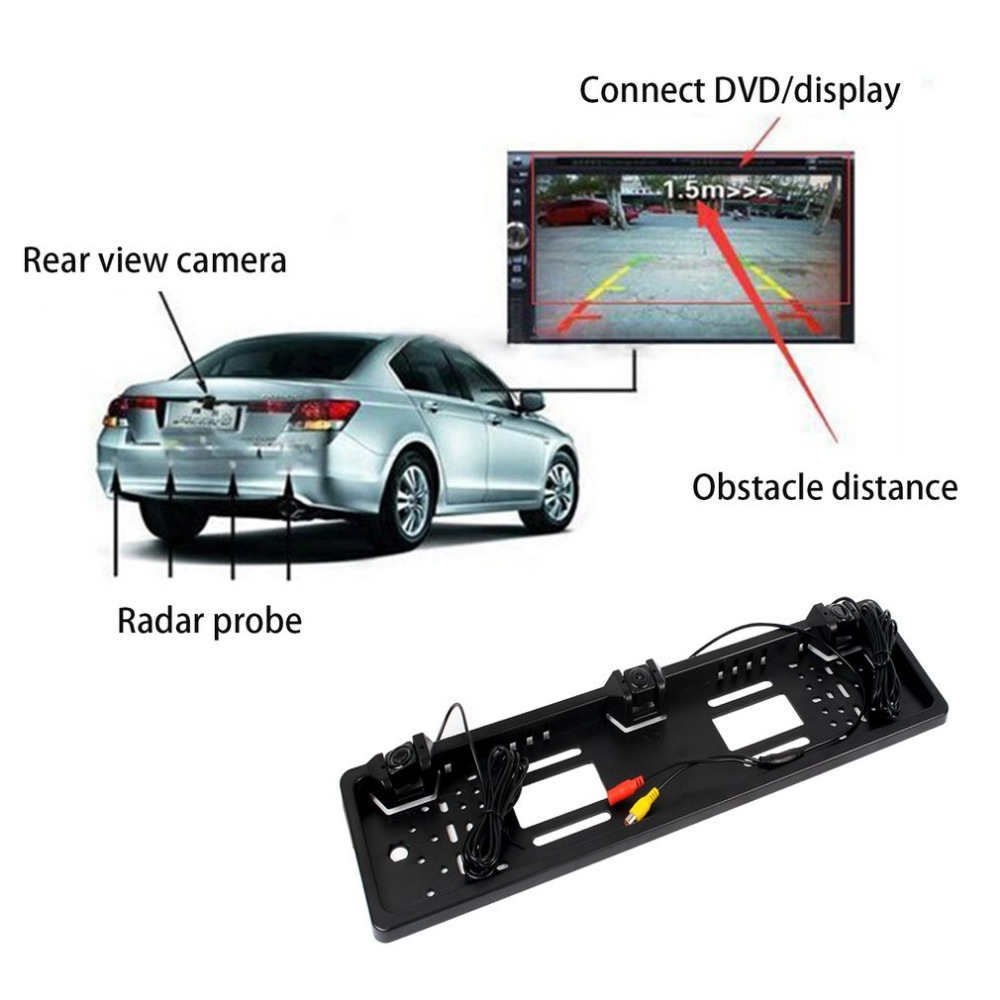 Car Licence Plate Camera Parking Sensor LED Display Universal Video Parking Assistance Reversing Radar Rear View Alarm System truck lorry backup sensor warning alarm reversing radar aid system 4pcs parking ultrasonic sensor with led display