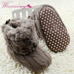 Зимние теплые первые ходоки детские ботильоны младенческие сапоги для снега кроше вязаный флисовый детская обувь для мальчиков и девочек