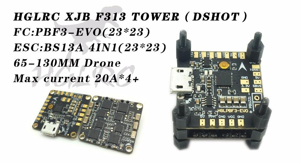 HGLRC XJB F313 DSHOT F3 mini Flight Control BS13A 4IN1 2-3S ESC BLHeli_S for RC Micro Drones hglrc xjb v2 micro 6dof f4 evo flight control aio
