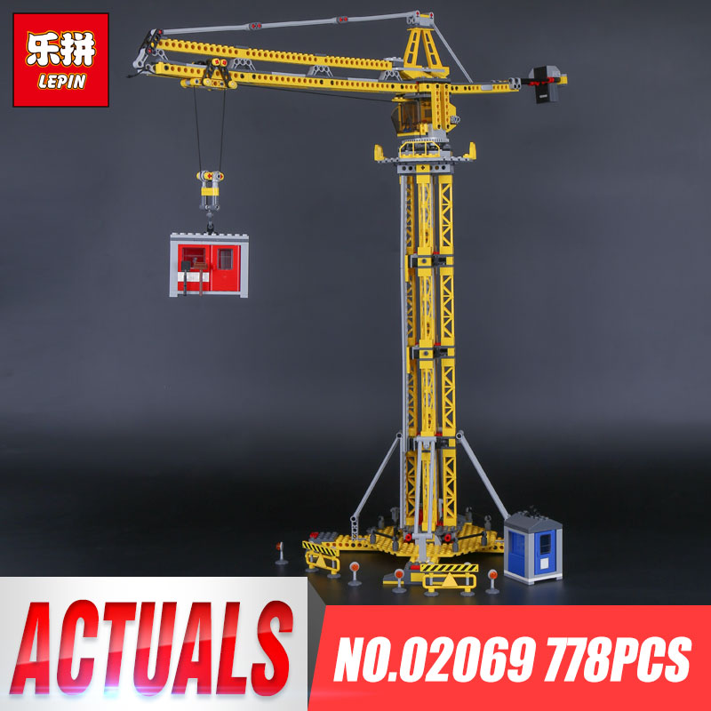 Lepin 02069 Genuine 778Pcs City Series The Building Crane Set 7905 Building Blocks Bricks Educational Toys Children Gift Model lepin 02012 774pcs city series deepwater exploration vessel children educational building blocks bricks toys model gift 60095