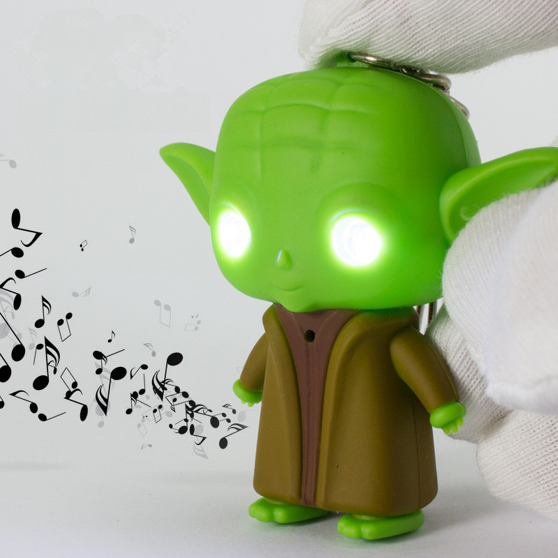 Fashion LED Sound Keychain Star Wars Keychains Jedi Master Yoda Keyring LED Keychains Cute Toys