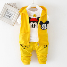 New Kids Boys Spring candy-colored 100% cotton child girls and boys cute garments in polos Long sleeve jacket mickey set go well with