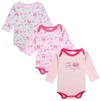 Fairy Baby Baby Girls Pink Princess Crown Long Sleeve Bodysuit 3 Pack