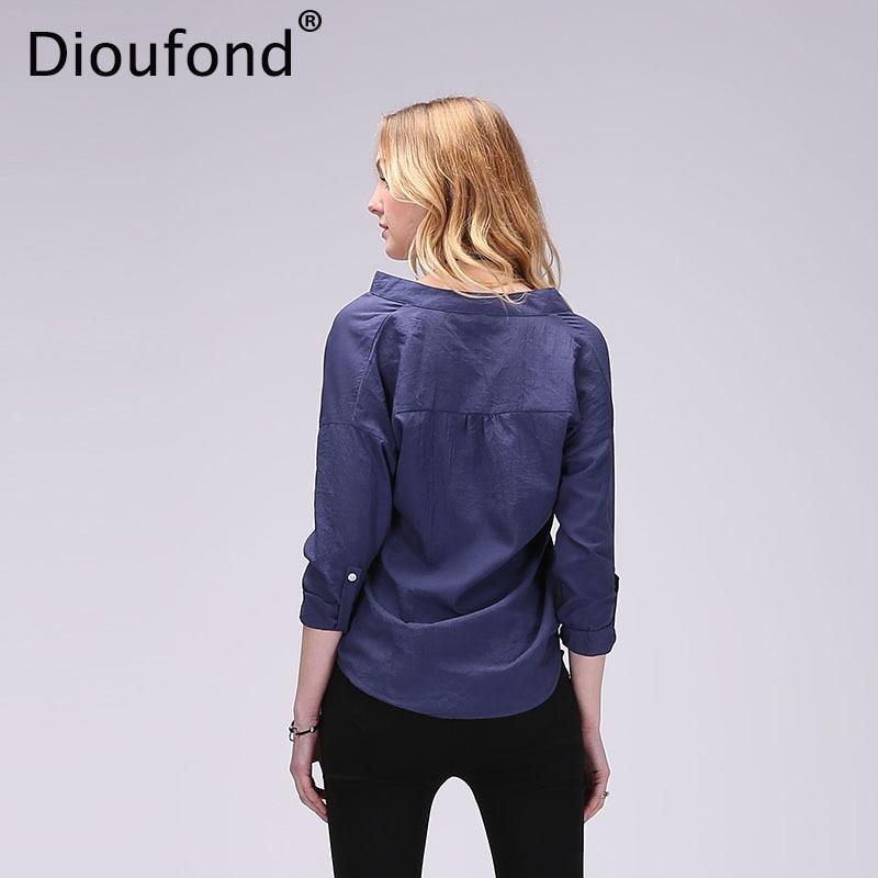 Dioufond Ljeto V-izrez Pamuk Tanke Žene Košulje Tri Četvrt Ženski - Ženska odjeća - Foto 6