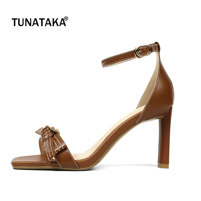 Genuine Leather Square High Heel Open Toe Woman Sandals Fashion Bow Knot Dress Shoes Woman Brown Beige new arrival fashion brown tassel high heel women sandals open toe suede party dress shoes woman size 34 to 42 knot frienge